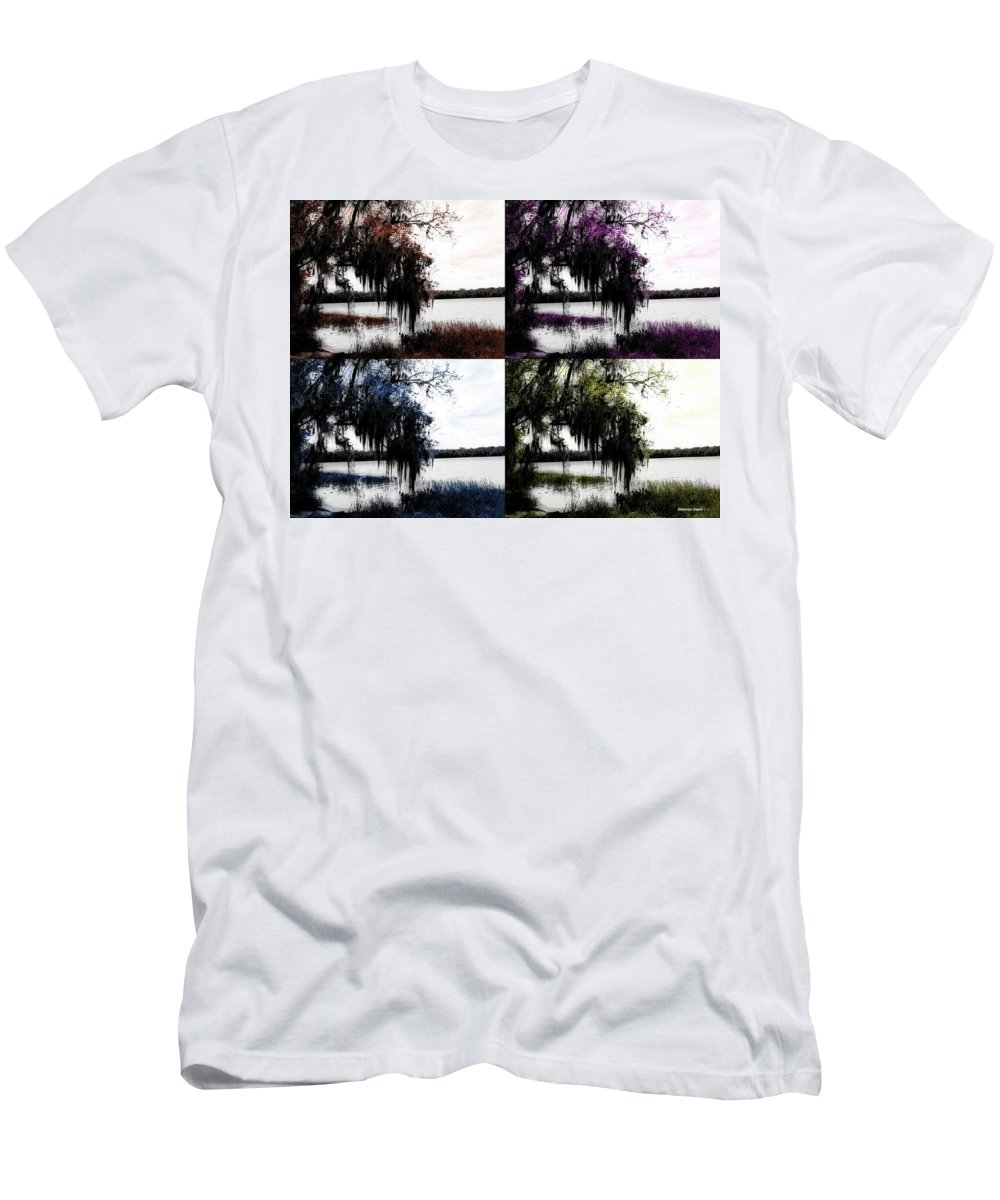 Shannon Men's T-Shirt (Athletic Fit) featuring the digital art Hanging Over The Marsh by Shannon Sears