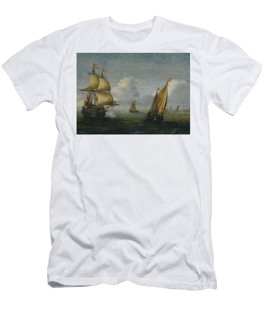 Hans Goderis Dutch Shipping At Sea Men's T-Shirt (Athletic Fit) featuring the painting Hans Goderis Dutch Shipping At Sea, 1615 by Adam Asar