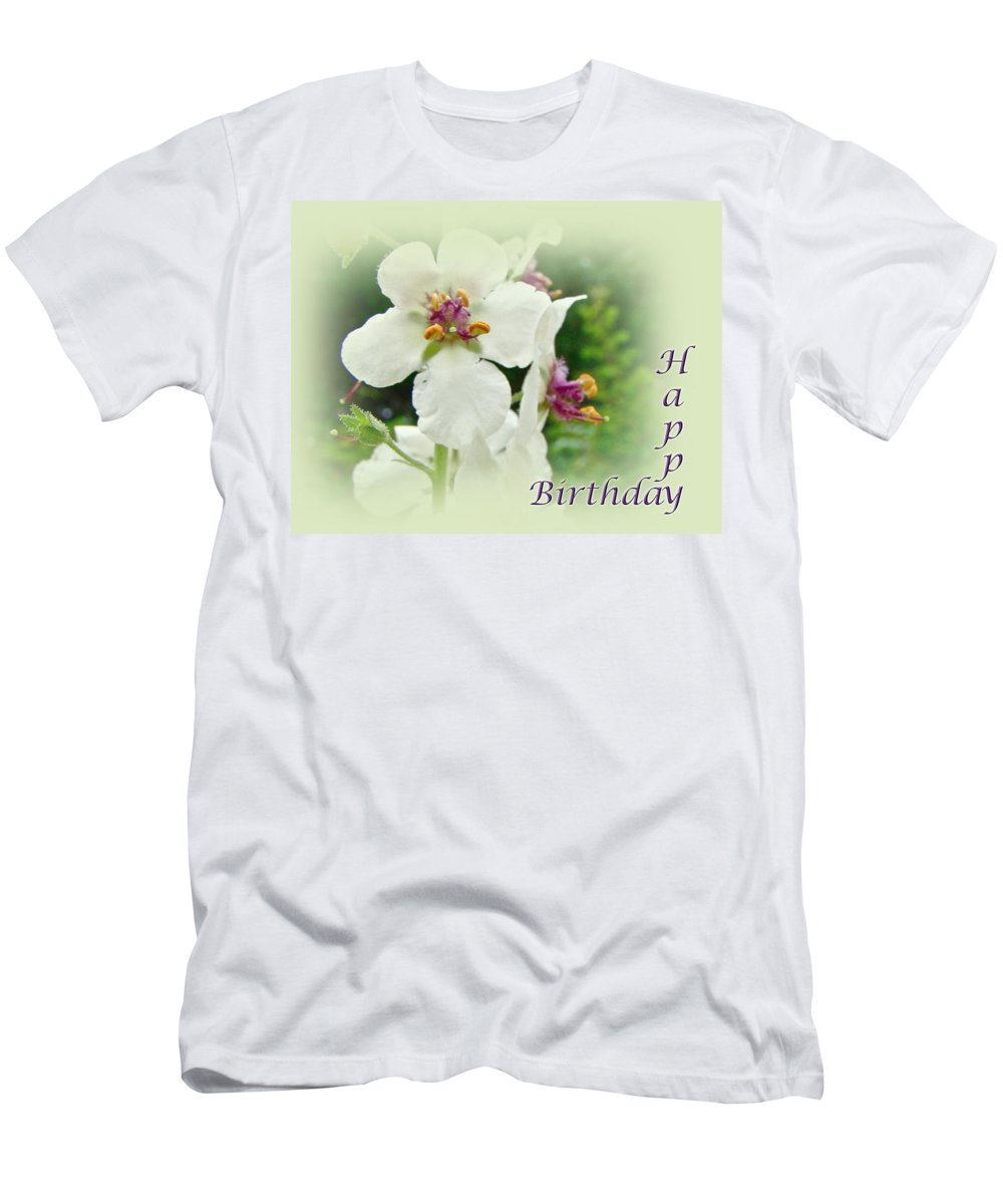 happy Birthday Men's T-Shirt (Athletic Fit) featuring the photograph Happy Birthday - Floral - Moth Mullein by Mother Nature