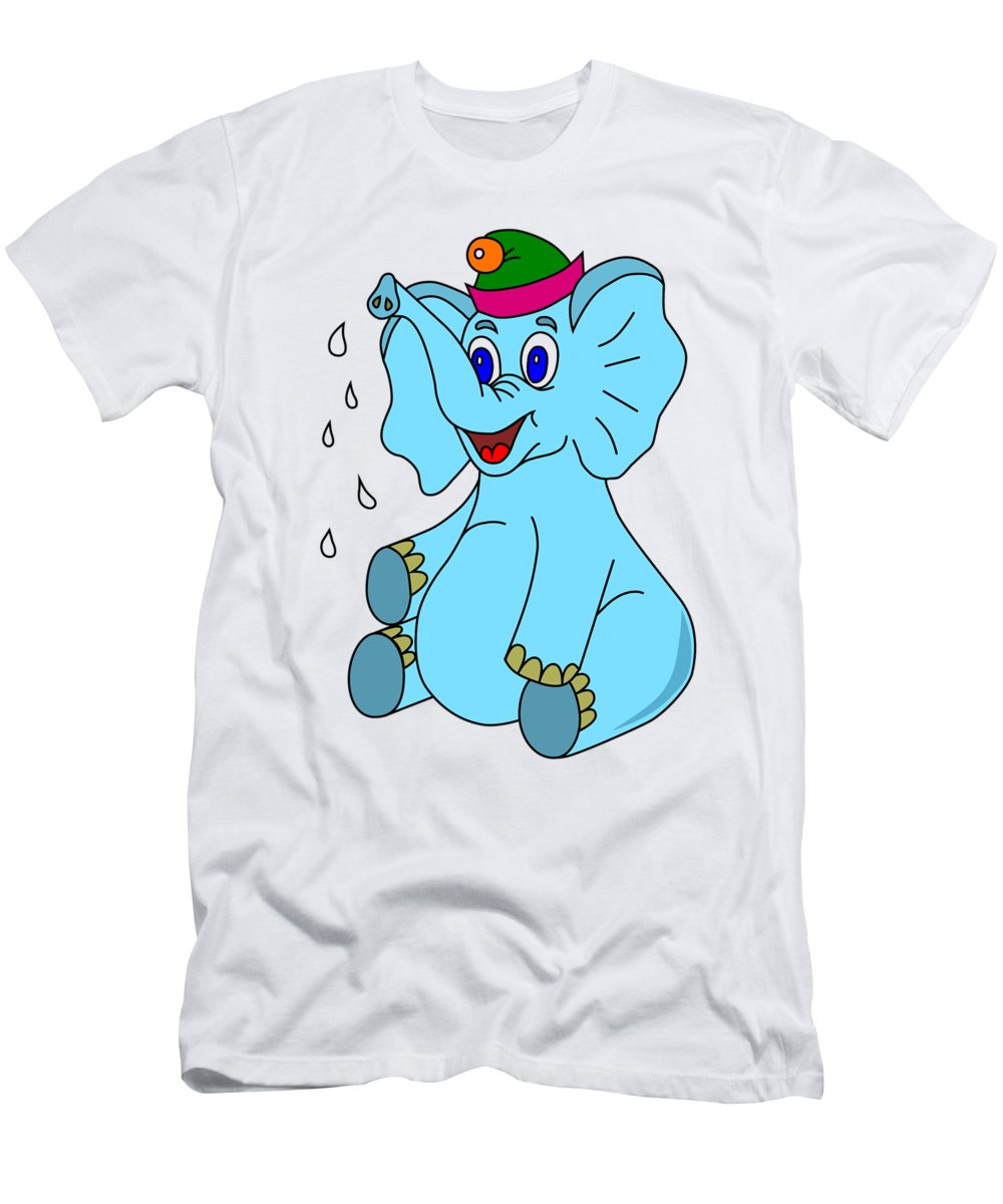 Animal Men's T-Shirt (Athletic Fit) featuring the digital art Happy Blue Elephant by Miroslav Nemecek