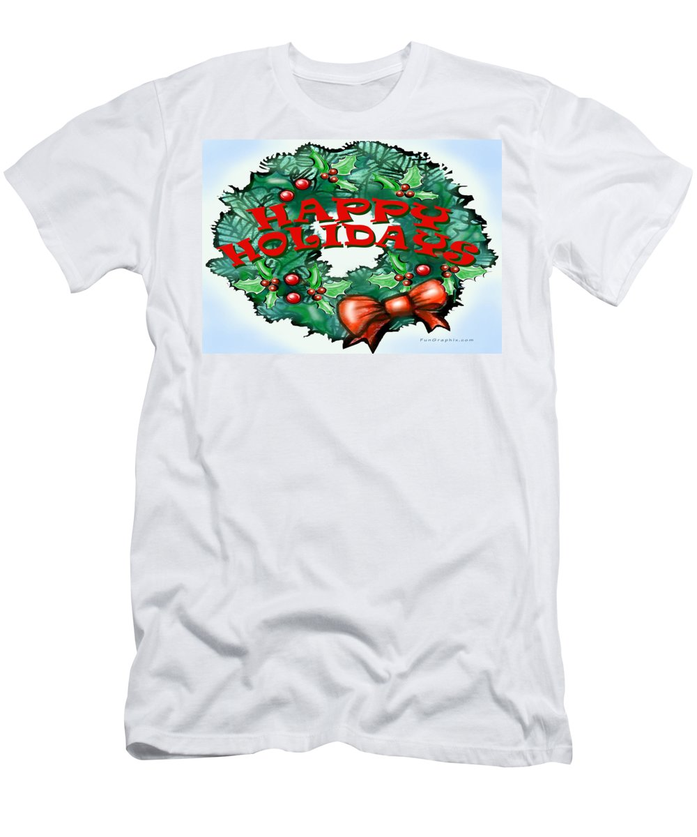 Happy Holidays Men's T-Shirt (Athletic Fit) featuring the greeting card Happy Holidays by Kevin Middleton