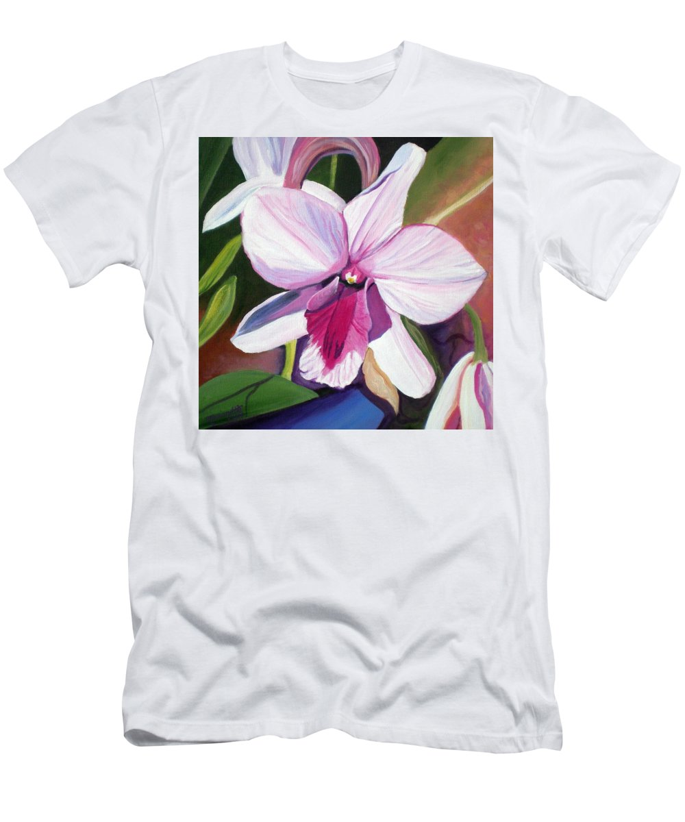 Kauai Men's T-Shirt (Athletic Fit) featuring the painting Happy Orchid by Marionette Taboniar