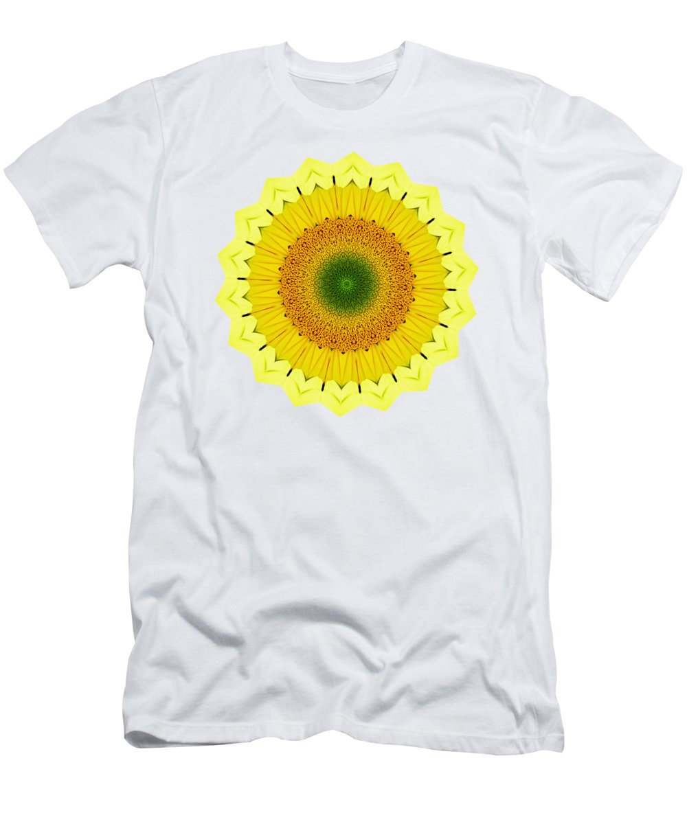 Happy Sunflower Mandala Men's T-Shirt (Athletic Fit) featuring the photograph Happy Sunflower Mandala By Kaye Menner by Kaye Menner