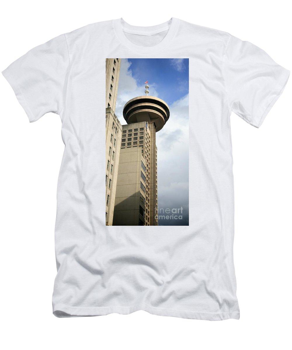 Harbour Centre Men's T-Shirt (Athletic Fit) featuring the photograph Harbour Centre Vancouver by Chris Dutton