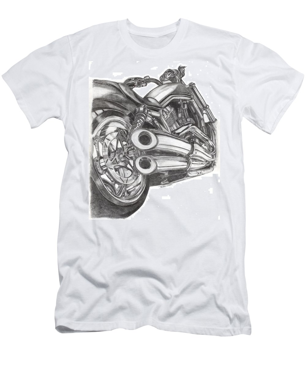 Harley Davidson Men's T-Shirt (Athletic Fit) featuring the drawing Harley by Kristen Wesch