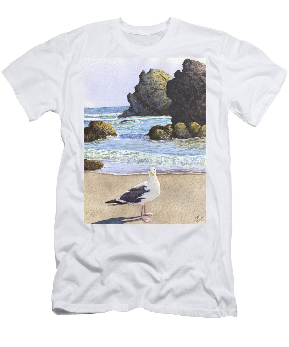 Oregon Coast Men's T-Shirt (Athletic Fit) featuring the painting Harris Beach by Catherine G McElroy