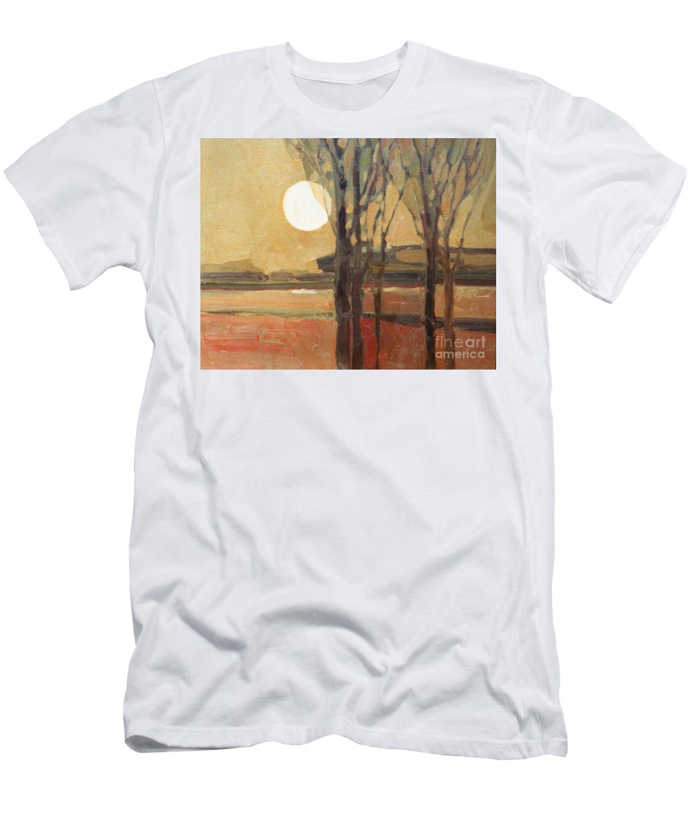 Sunset Men's T-Shirt (Athletic Fit) featuring the painting Harvest Moon by Donald Maier