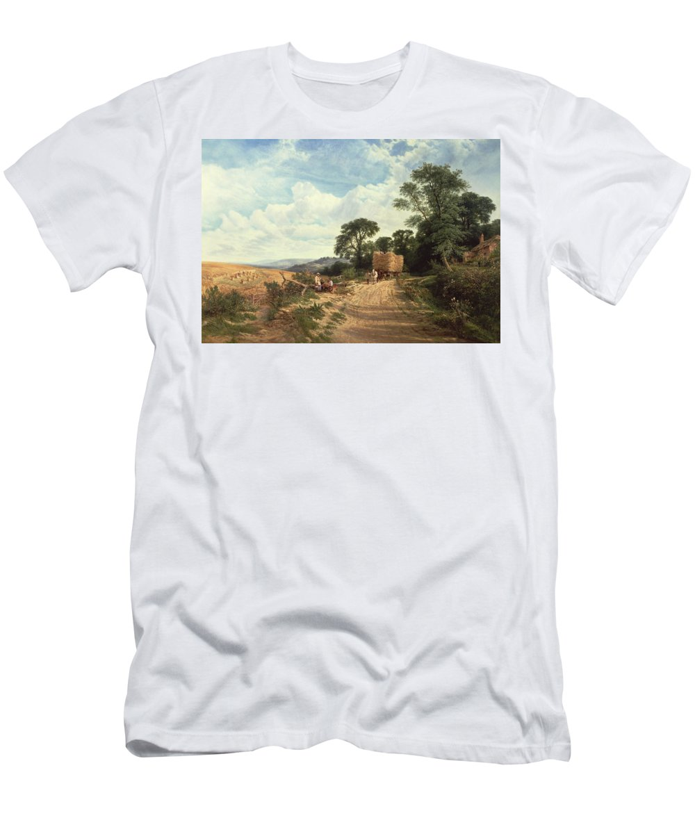 Landscape Men's T-Shirt (Athletic Fit) featuring the painting Harvest Time by George Vicat Cole