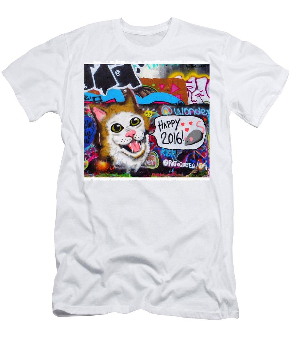 Urbanart T-Shirt featuring the photograph Have A Catty, I Mean #happy by Austin Tuxedo Cat