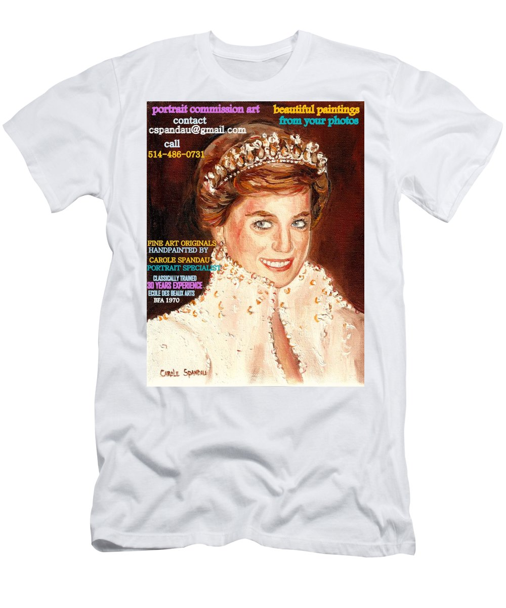 Commissioned Portraits Men's T-Shirt (Athletic Fit) featuring the painting Have Your Portrait Painted Contact Carole Spandau 30 Years Experience by Carole Spandau