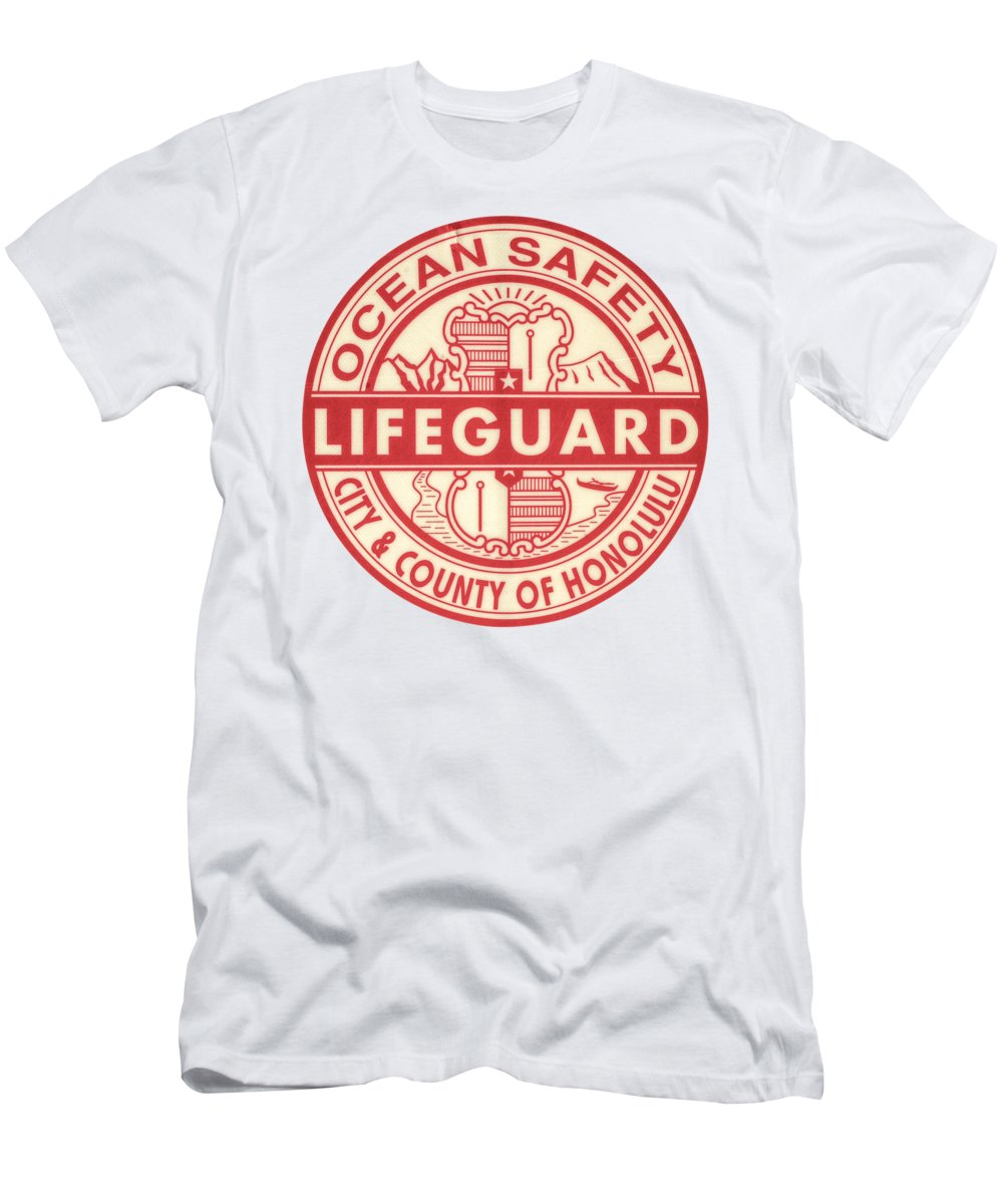 cdee3f84e94caf Aged Men s T-Shirt (Athletic Fit) featuring the photograph Hawaii Lifeguard  Logo by