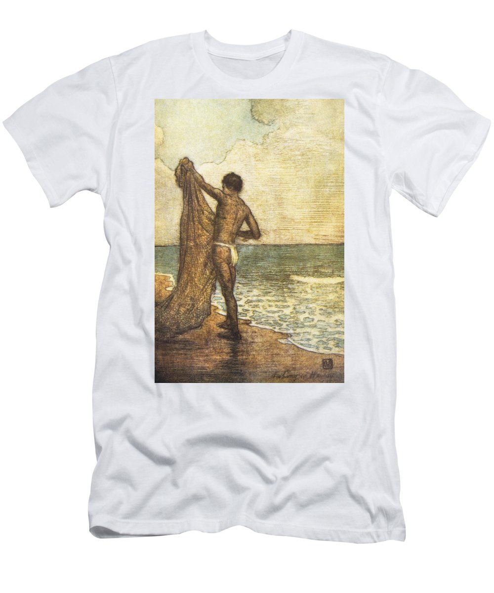 1937 Men's T-Shirt (Athletic Fit) featuring the painting Hawaiian Fisherman Painting by Hawaiian Legacy Archive - Printscapes