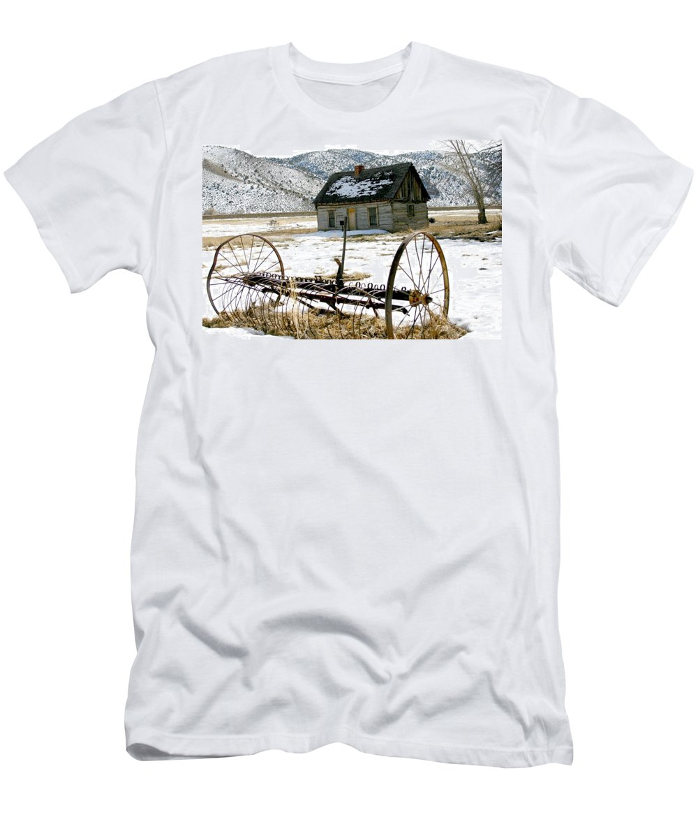 Utah Men's T-Shirt (Athletic Fit) featuring the photograph Hay Rake At Butch Cassidy by Nelson Strong