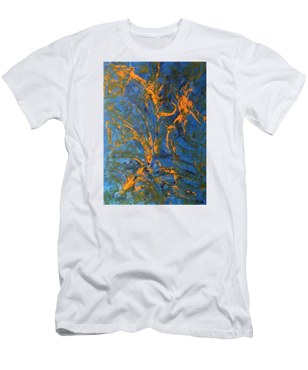 Abstract Art Men's T-Shirt (Athletic Fit) featuring the painting Hd 189 Exoplanet Surface by John Dossman