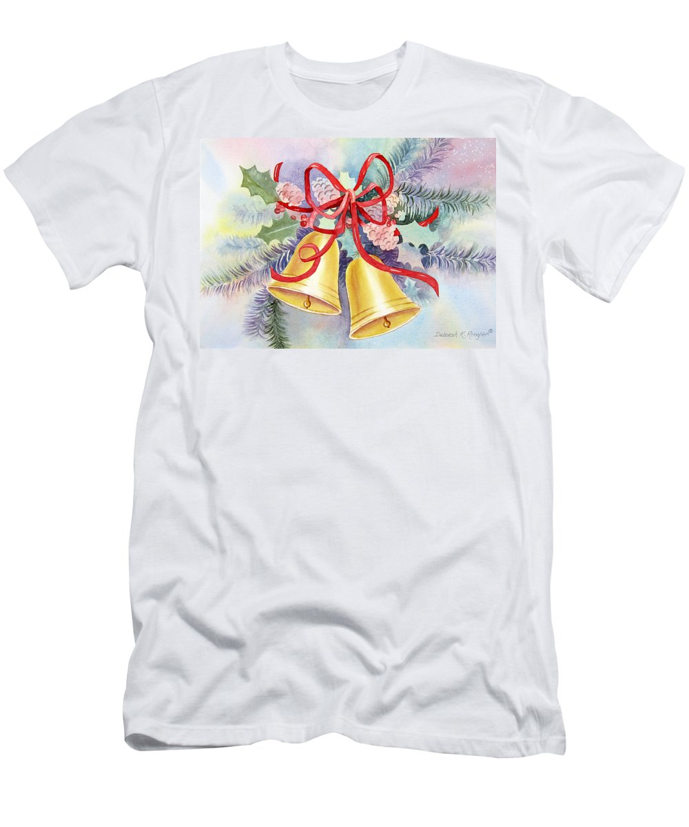 Christmas Bells Men's T-Shirt (Athletic Fit) featuring the painting Hear Them Ring by Deborah Ronglien