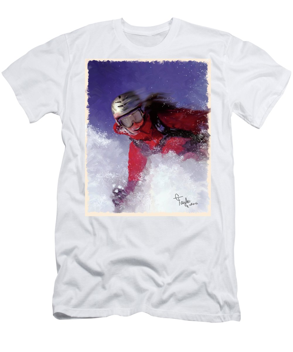 Ski Men's T-Shirt (Athletic Fit) featuring the painting Hell Bent For Powder by Colleen Taylor