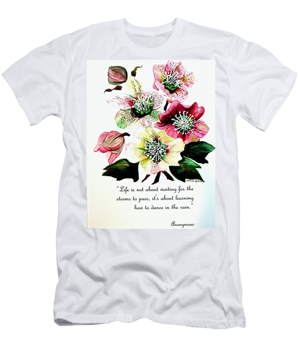 Helleborous Painting Men's T-Shirt (Athletic Fit) featuring the painting Helleborous by Karin Dawn Kelshall- Best