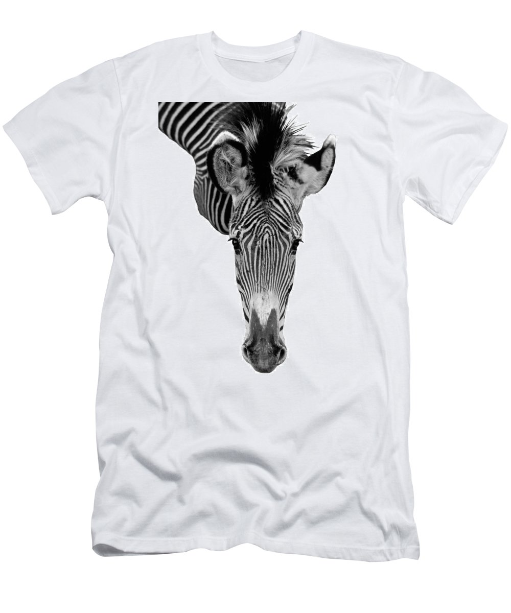 Zebra Men's T-Shirt (Athletic Fit) featuring the photograph Here's Looking At You by Jerry McElroy