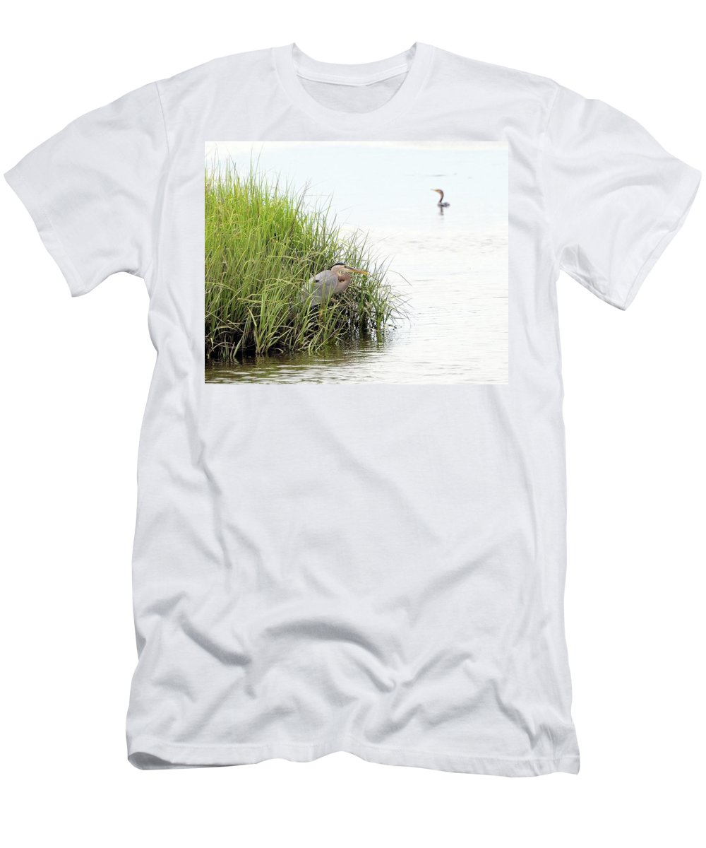 Great Blue Heron Men's T-Shirt (Athletic Fit) featuring the photograph Heron And Cormorant by Al Powell Photography USA