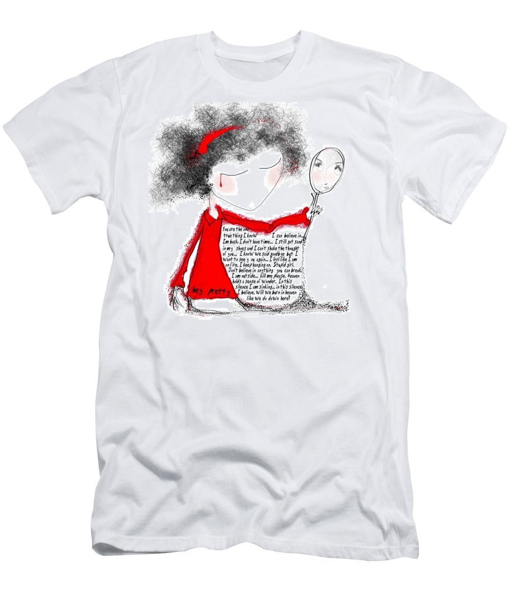 Pretty Woman Crying Tears Red Words Mirror Girls Men's T-Shirt (Athletic Fit) featuring the digital art Hey Pretty by Veronica Jackson