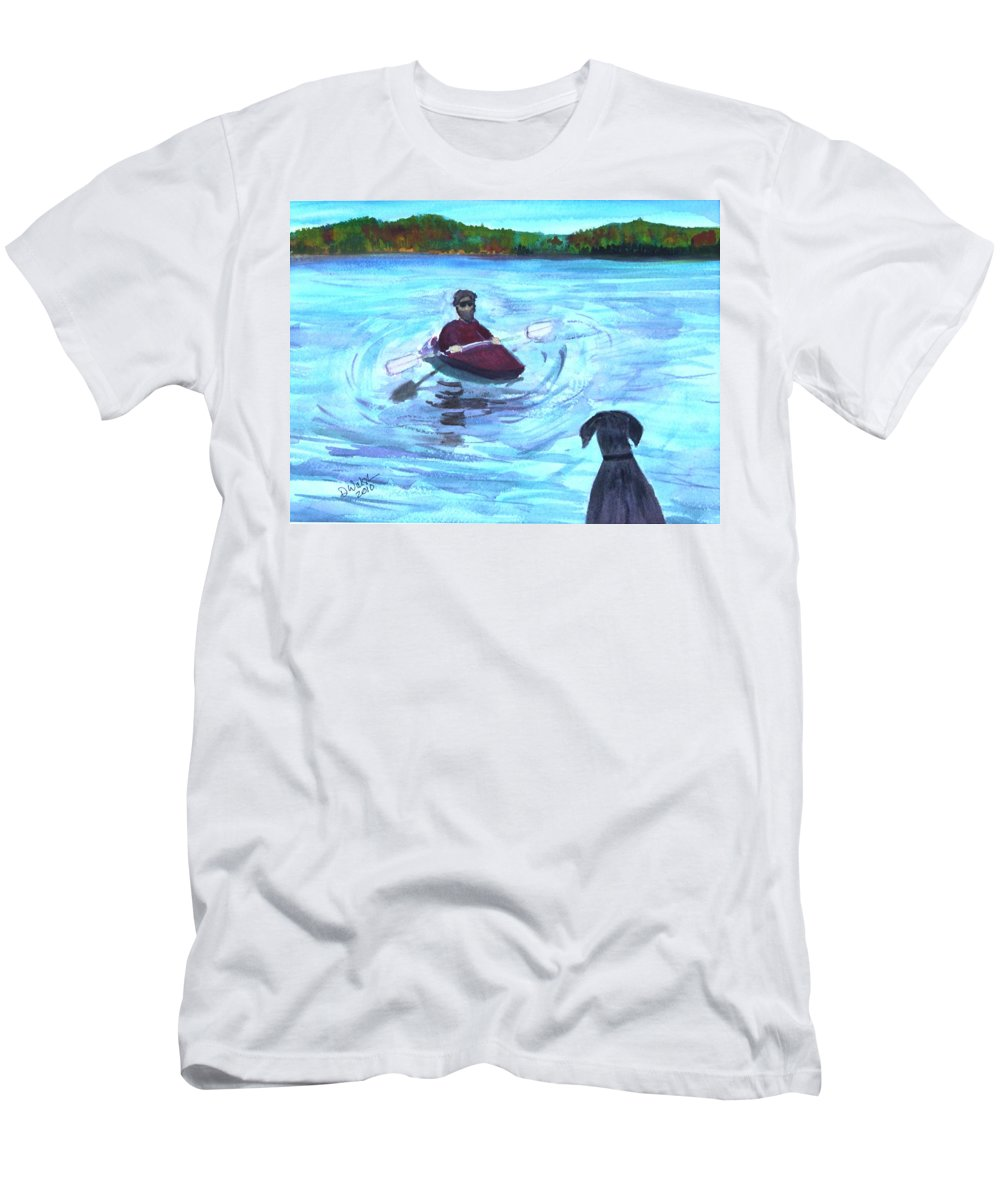 Dog Men's T-Shirt (Athletic Fit) featuring the painting Hey Where You Going by Donna Walsh