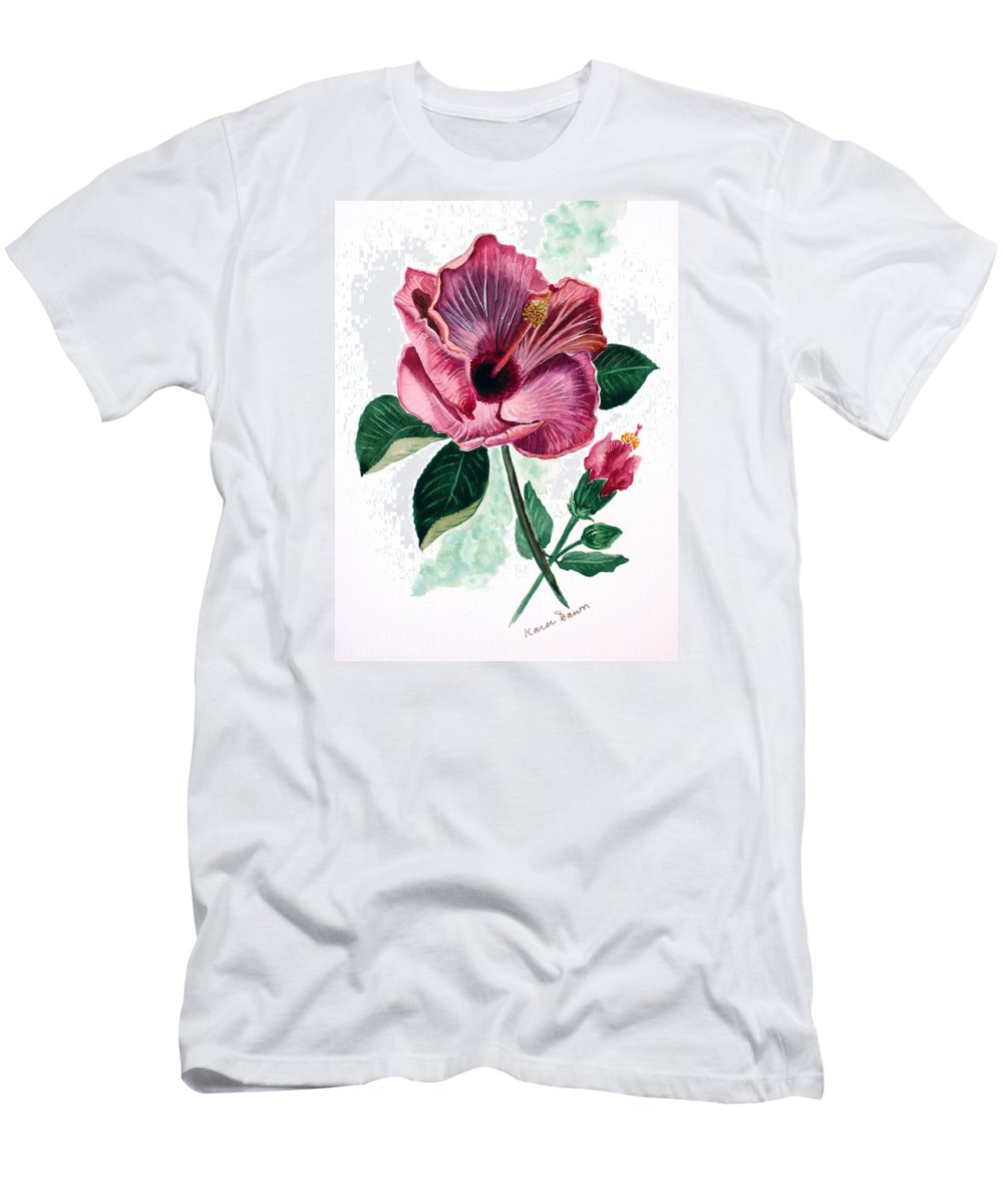 Flora Painting L Hibiscus Painting Pink Flower Painting Greeting Card Painting Men's T-Shirt (Athletic Fit) featuring the painting Hibiscus Dusky Rose by Karin Dawn Kelshall- Best