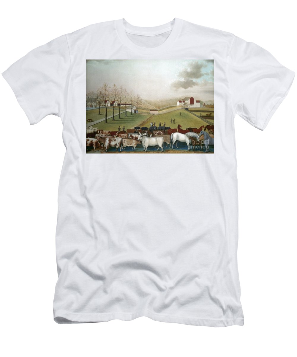 19th Century Men's T-Shirt (Athletic Fit) featuring the photograph Hicks: Cornell Farm, 1848 by Granger