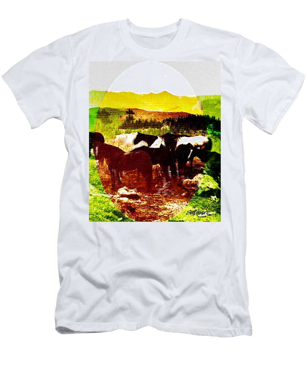 Mustangs Men's T-Shirt (Athletic Fit) featuring the digital art High Plains Horses by Seth Weaver
