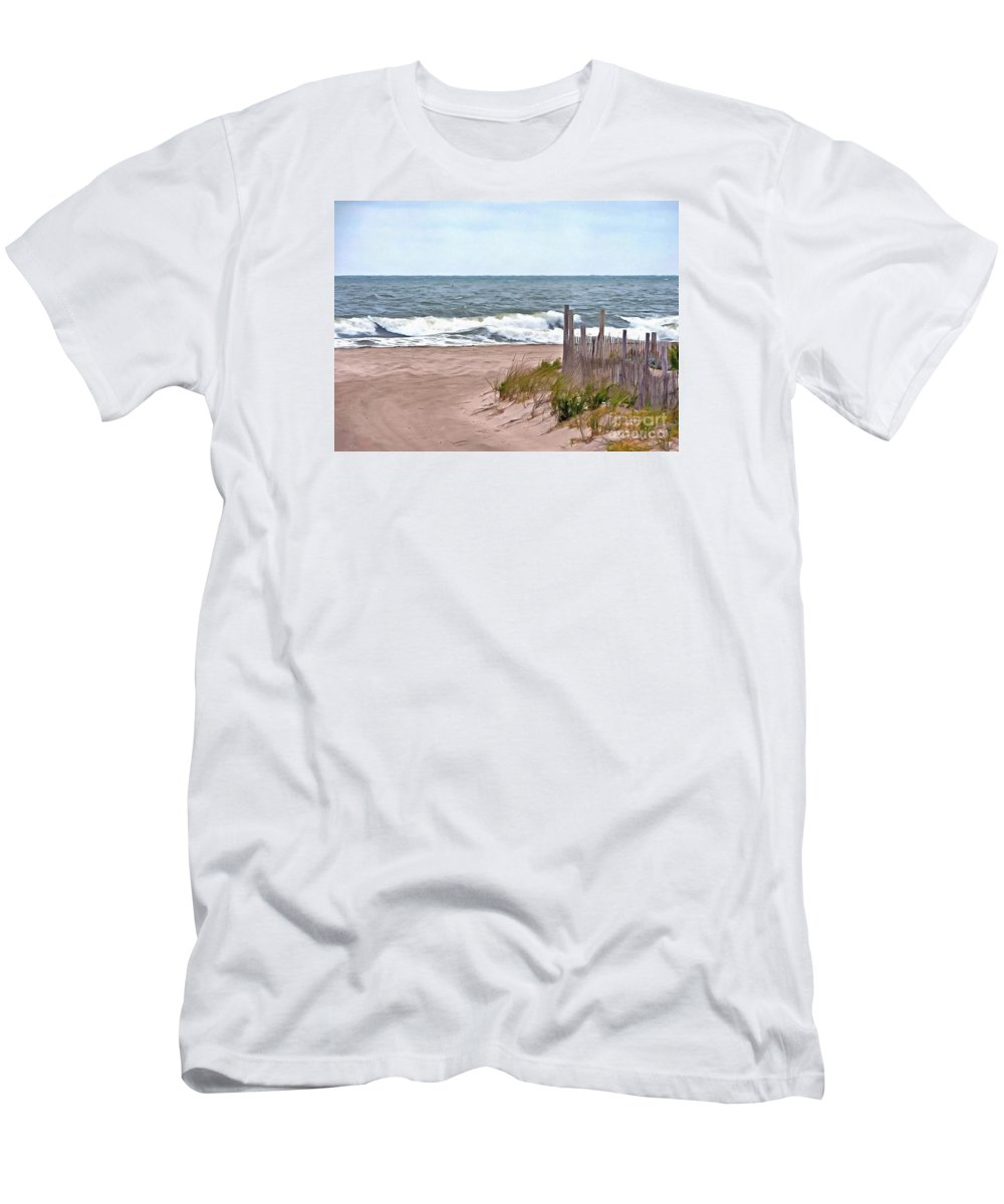 Island Beach State Park Men's T-Shirt (Athletic Fit) featuring the photograph High Tides 2 by Helene Guertin
