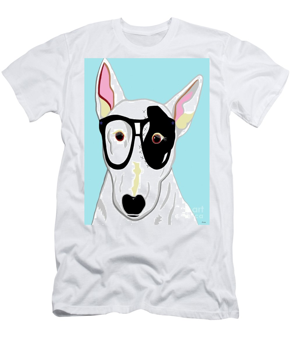 Hipster Men's T-Shirt (Athletic Fit) featuring the painting Hipster Bull Terrier by Eloise Schneider Mote