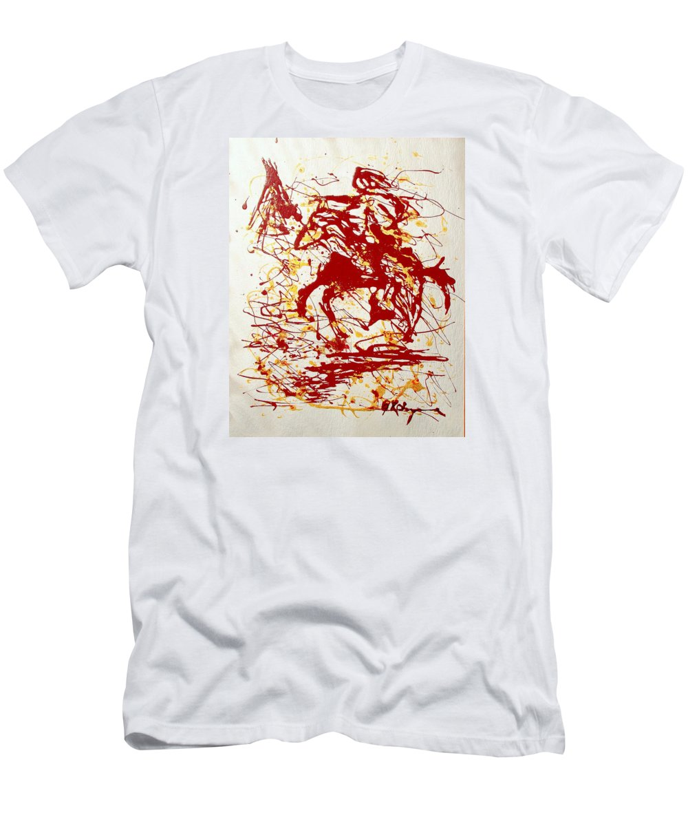 Indian Men's T-Shirt (Athletic Fit) featuring the painting History In Blood by J R Seymour