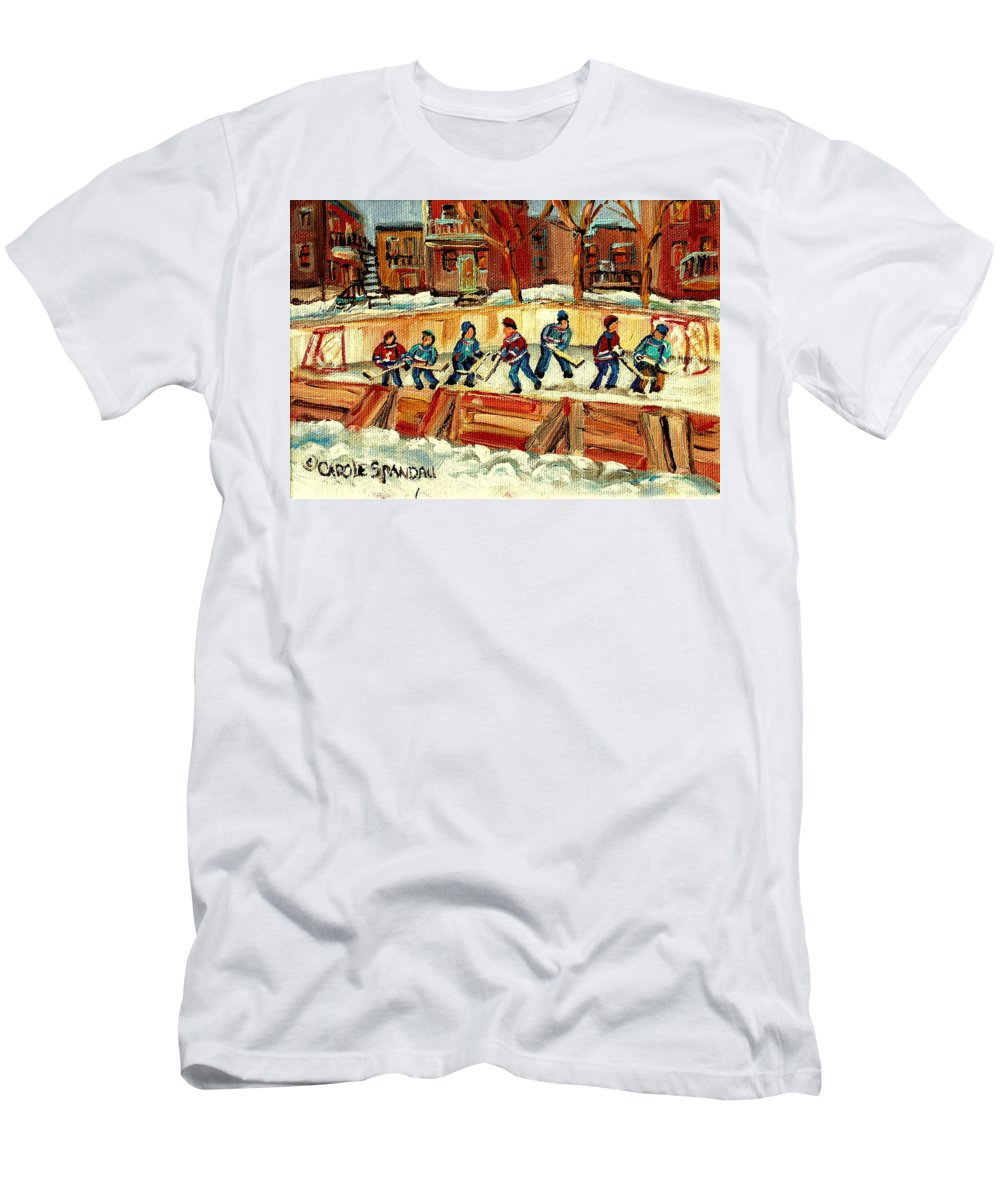 Hockey Rinks In Montreal T-Shirt featuring the painting Hockey Rinks In Montreal by Carole Spandau