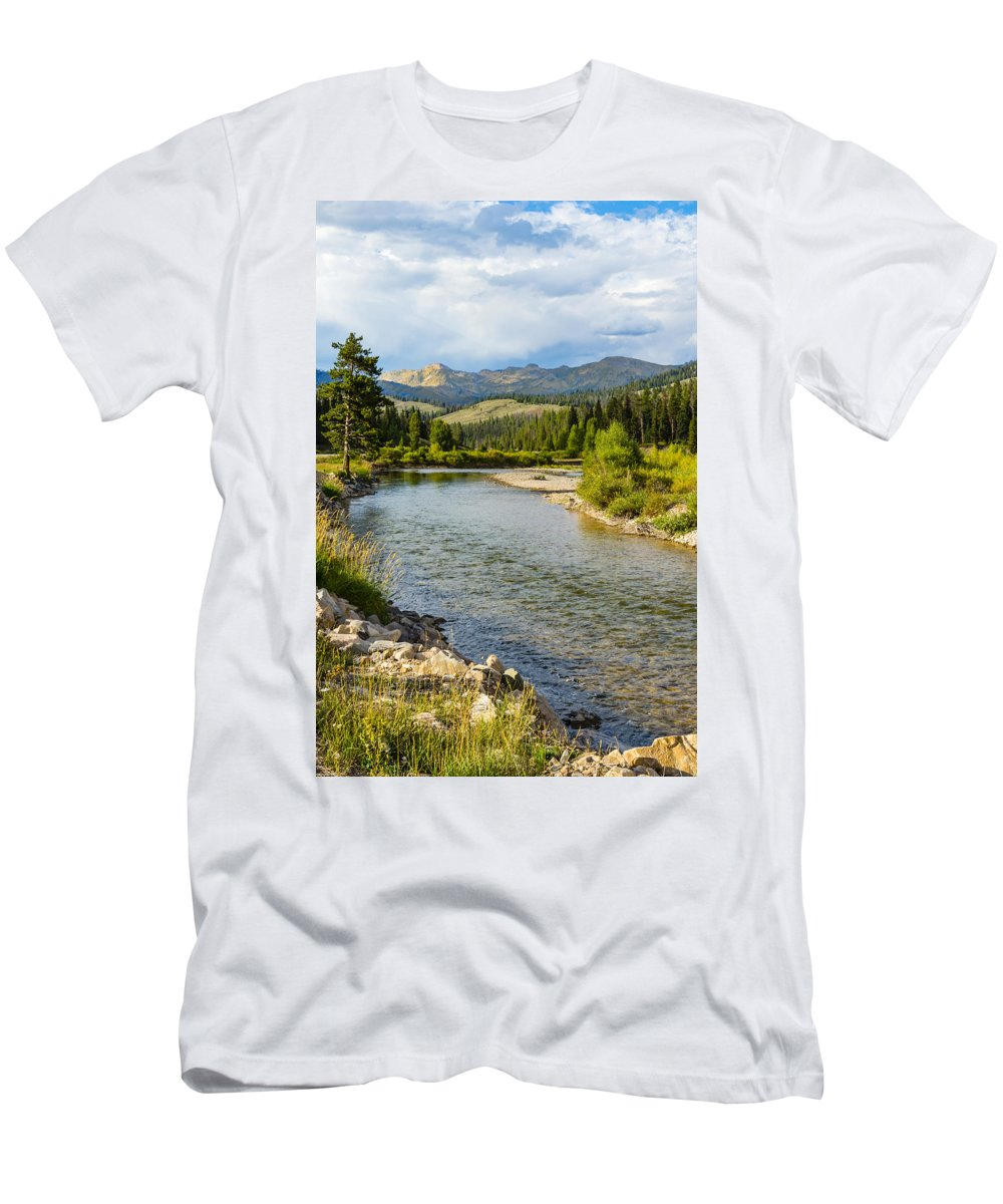 Gros Ventre Wilderness Men's T-Shirt (Athletic Fit) featuring the photograph Holback River by John Trax
