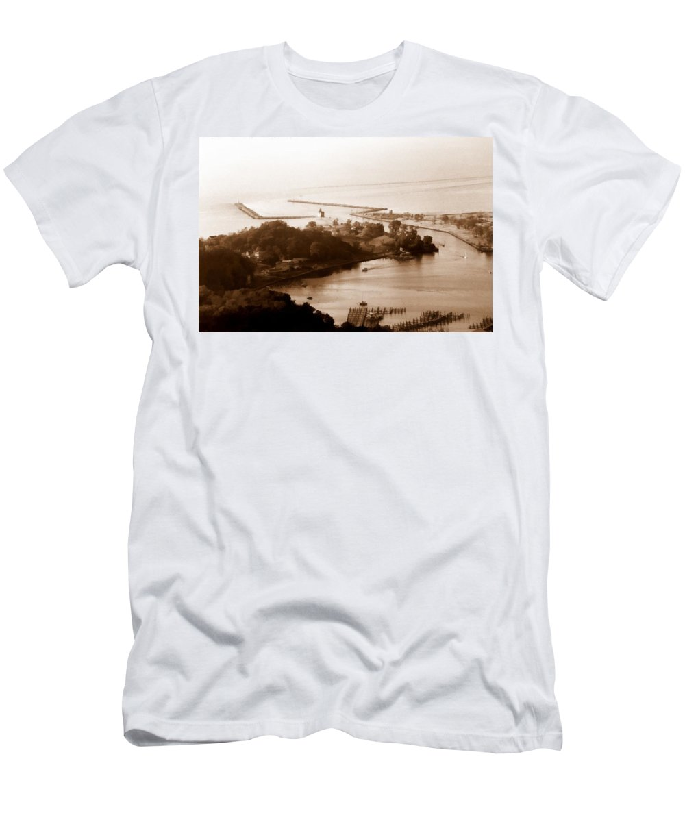 Holland Men's T-Shirt (Athletic Fit) featuring the photograph Holland Michigan Harbor Big Red Aerial Photo by Michelle Calkins