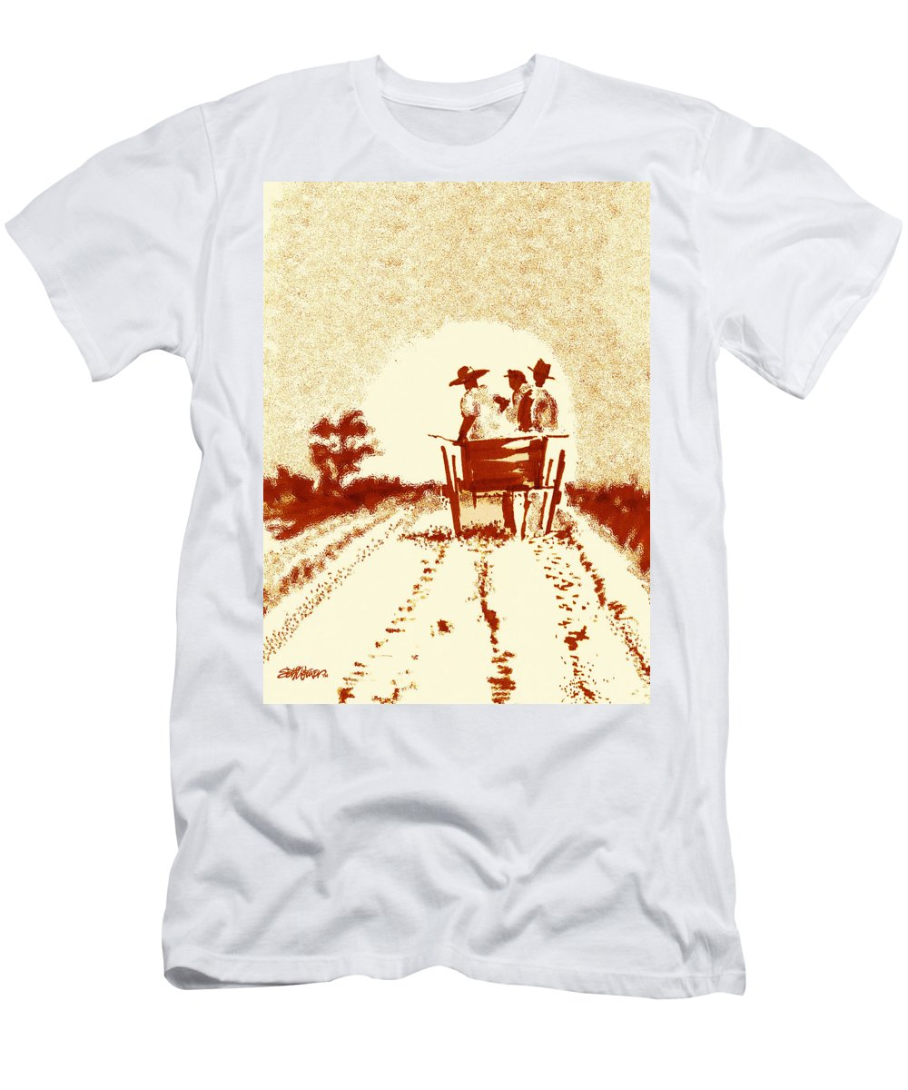 Old South Men's T-Shirt (Athletic Fit) featuring the digital art Home Before Dark by Seth Weaver
