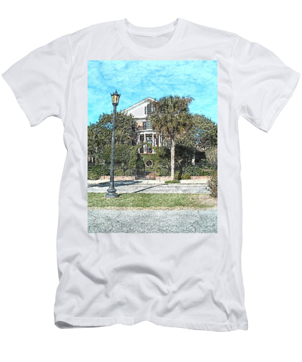 Homes Men's T-Shirt (Athletic Fit) featuring the photograph Homes Of Charleston by Donna Bentley