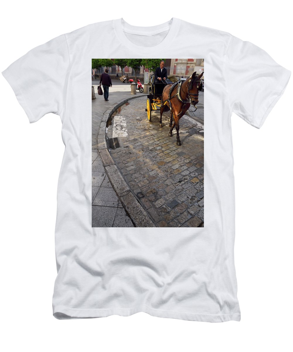Horse Men's T-Shirt (Athletic Fit) featuring the photograph Horse And Carriage On Cobblestoned Alvarez Quintero Street In Th by Reimar Gaertner
