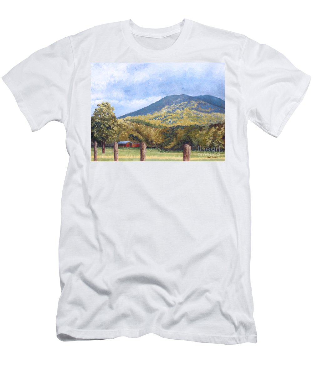 Landscape Men's T-Shirt (Athletic Fit) featuring the painting Horse Barn At Cades Cove by Todd A Blanchard