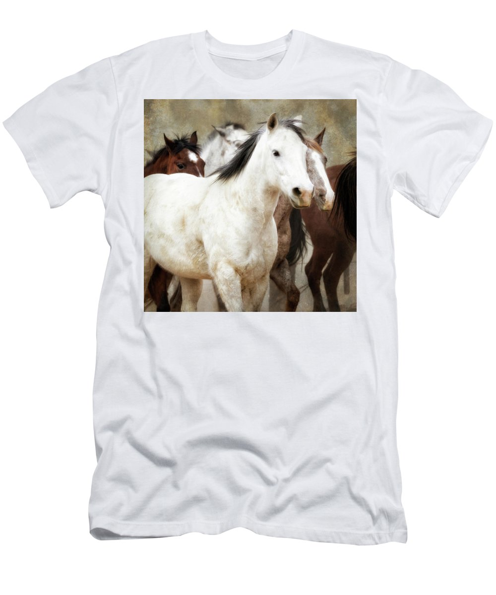 Horses Men's T-Shirt (Athletic Fit) featuring the photograph Horses-01 by Susan Kordish
