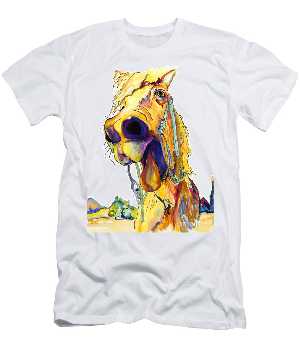 Animal Painting Men's T-Shirt (Athletic Fit) featuring the painting Horsing Around by Pat Saunders-White