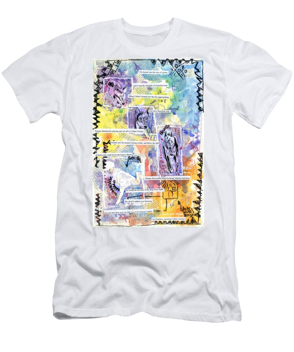Celtic Men's T-Shirt (Athletic Fit) featuring the painting Hound Of Ulster by Matthew Dudley