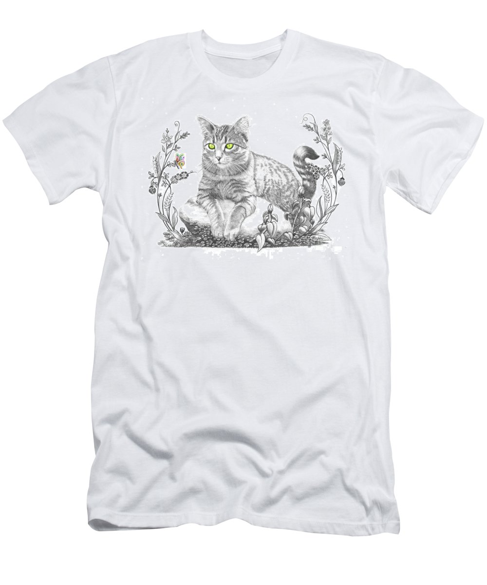 Cat Men's T-Shirt (Athletic Fit) featuring the drawing House Cat by Murphy Elliott