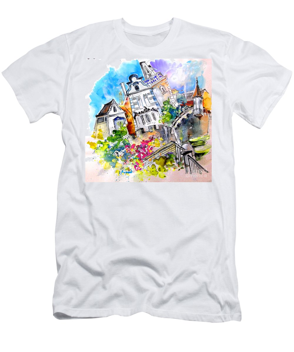 Portugal Men's T-Shirt (Athletic Fit) featuring the painting Houses In Ponte De Lima by Miki De Goodaboom