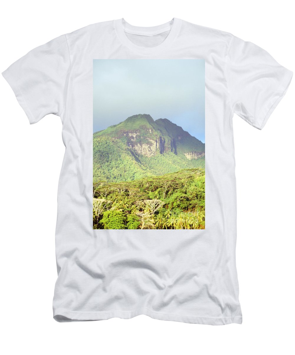 Cloud Men's T-Shirt (Athletic Fit) featuring the photograph Huahine Forest And Mountaintop by Erik Aeder - Printscapes