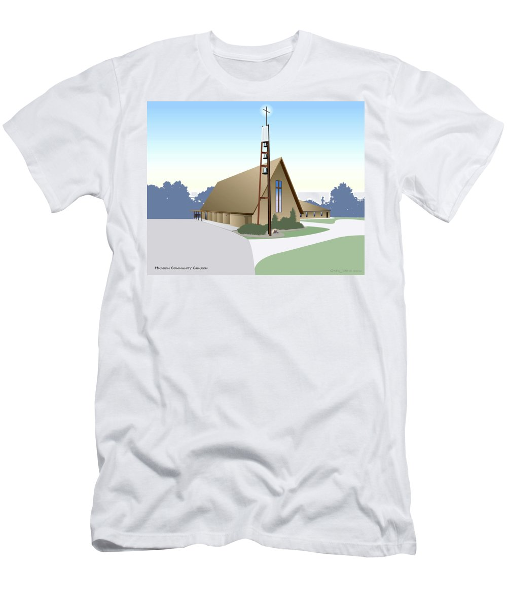 Hudson Men's T-Shirt (Athletic Fit) featuring the digital art Hudson Community Church by Greg Joens