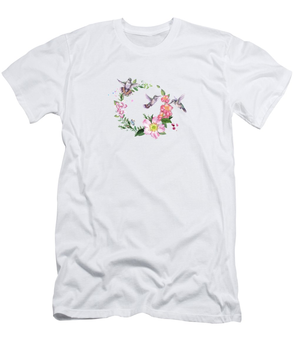 Hummingbirds Men's T-Shirt (Athletic Fit) featuring the photograph Hummingbird Wreath In Watercolor by Lynn Bauer