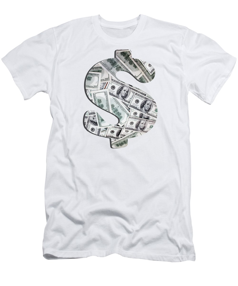 Cash Men's T-Shirt (Athletic Fit) featuring the photograph Hundred Dollar Bills by Gravityx9 Designs