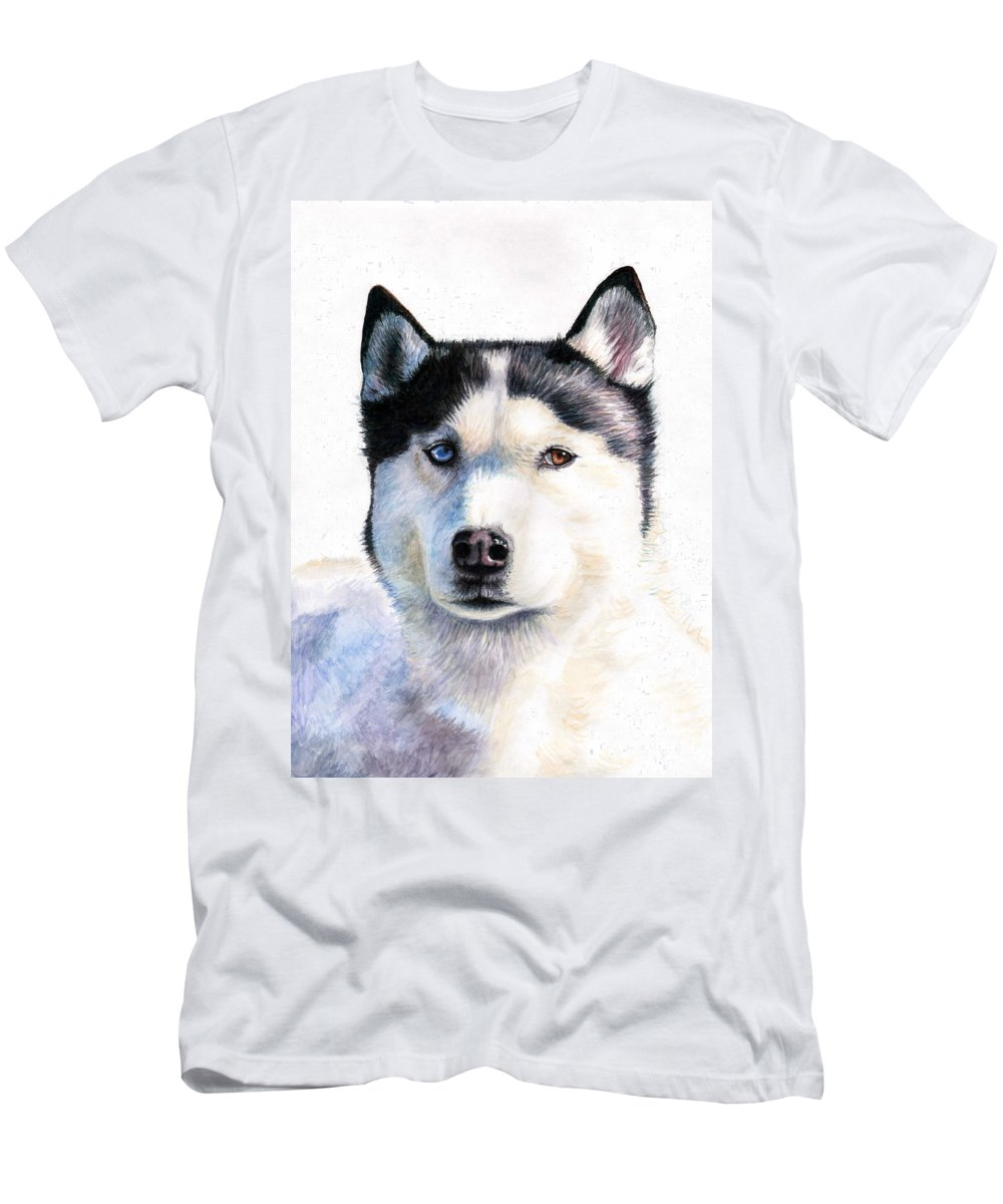 Dog Men's T-Shirt (Athletic Fit) featuring the painting Husky Blue by Nicole Zeug