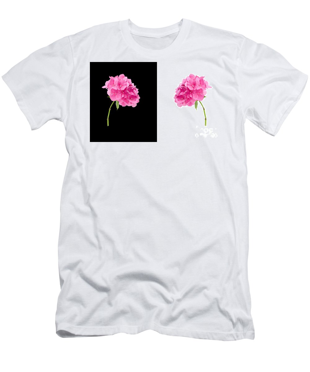 Background Men's T-Shirt (Athletic Fit) featuring the photograph Hydrangeas On Black And White by Meirion Matthias