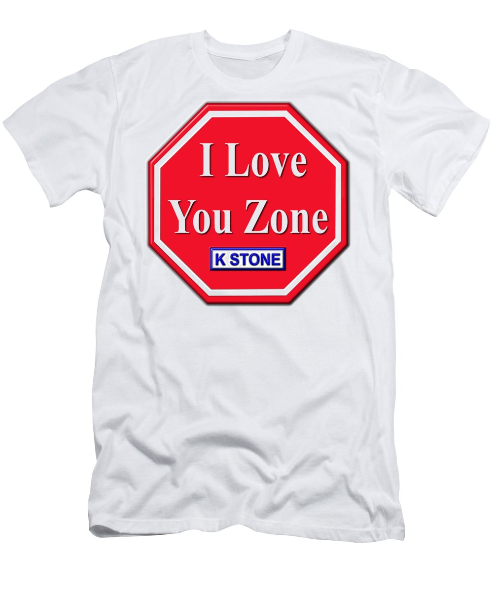 Love Men's T-Shirt (Athletic Fit) featuring the digital art I Love You Zone by K STONE UK Music Producer